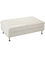 Occasions White Leather Ottoman